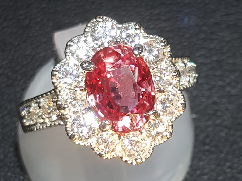 2.37 Ct GRS certified Natural Padparadscha Sapphire and Diamond Ring