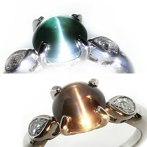 Color Change 3.46 Ct Natural Alexandrite Cats Eye Ring