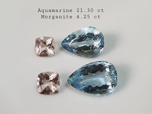 25 carat Natural Aquamarine gemstone Pair with Morganite set