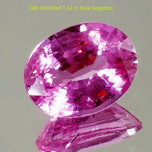 SOLD-GRS CERTIFIED 7.24 CT PINK SAPPHIRE