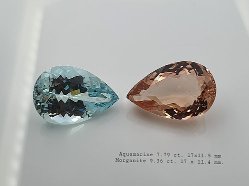 17 ct Aquamarine & Morganite & Pair 19 x 10 oval gemstone