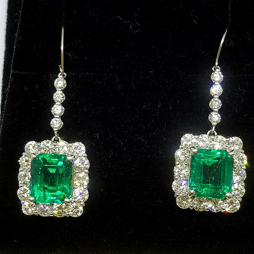 Magnificent Natural Colombian Emerald Earrings Drop and Diamond 10. 43 ct