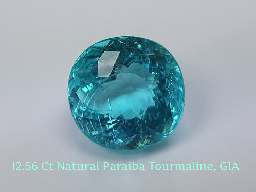 GIA 12.68 Ct Natural Paraiba Tourmaline neon blue from Mozambique