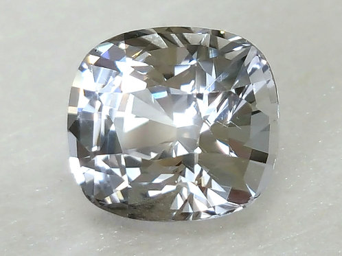 No Heat, 2.69 ct Natural White Sapphir Diamond Luster cushion from Sri Lanka, se