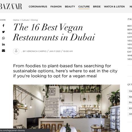 Harper's Bazaar- Jan 2021 (Best Vegan Restaurants in Dubai)