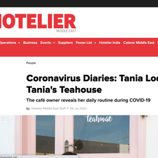 """Hotelier Middle East- """"Covid Diaries: Tania Lodi"""" June 2020"""