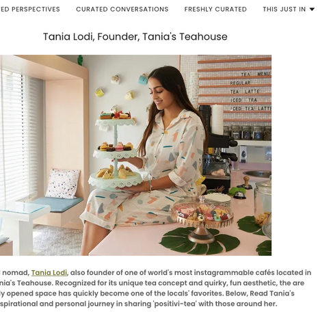 """Curated Now- """"Meet the Regions Curated Innovators: Tania Lodi"""" October 2020"""