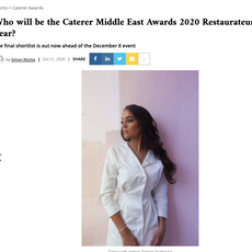 "Caterer- ""Restauranteur of the Year: Shortlisted Tania Lodi"" October 2020"