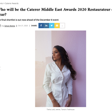 """Caterer- """"Restauranteur of the Year: Shortlisted Tania Lodi"""" October 2020"""