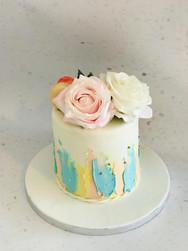 Roses & Brushstrokes Cake