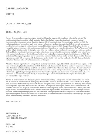 #FFFFFF | Aesthetik01 Gallery | Text by Brad Feuerhelm