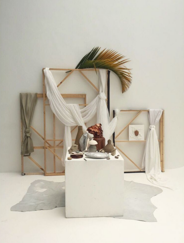 Untitled, 2016   Copper, wooed, fabric, plant, stone   Variable Measures