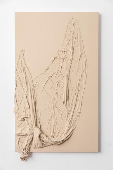 Peel, 2017   Fabric and acrylic paint on canvas   107 x 60 x 10 cm