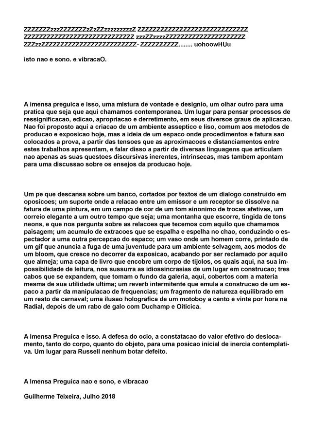 A Imensa Preguiça | Sancovsky Gallery | Text by Guilherme Teixeira