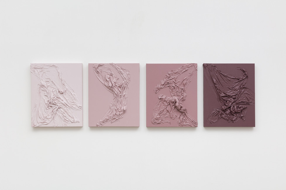 Chasing Shadows Through Dance | 2020 | Fabric, acrylic paint and mineral pigment | 50 x 190 x 5 cm