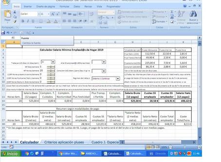 Calculador de Salarios Mínimos Dignos de Empleadas de Hogar 2020