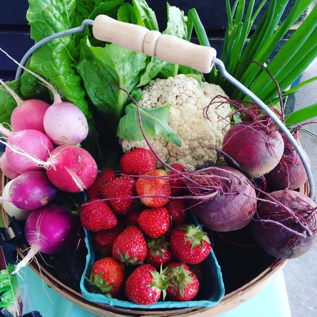 CSA Basket Strawberries Cauliflower Beet