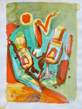 Farvelitografi med akvarel, 8.500 kr.