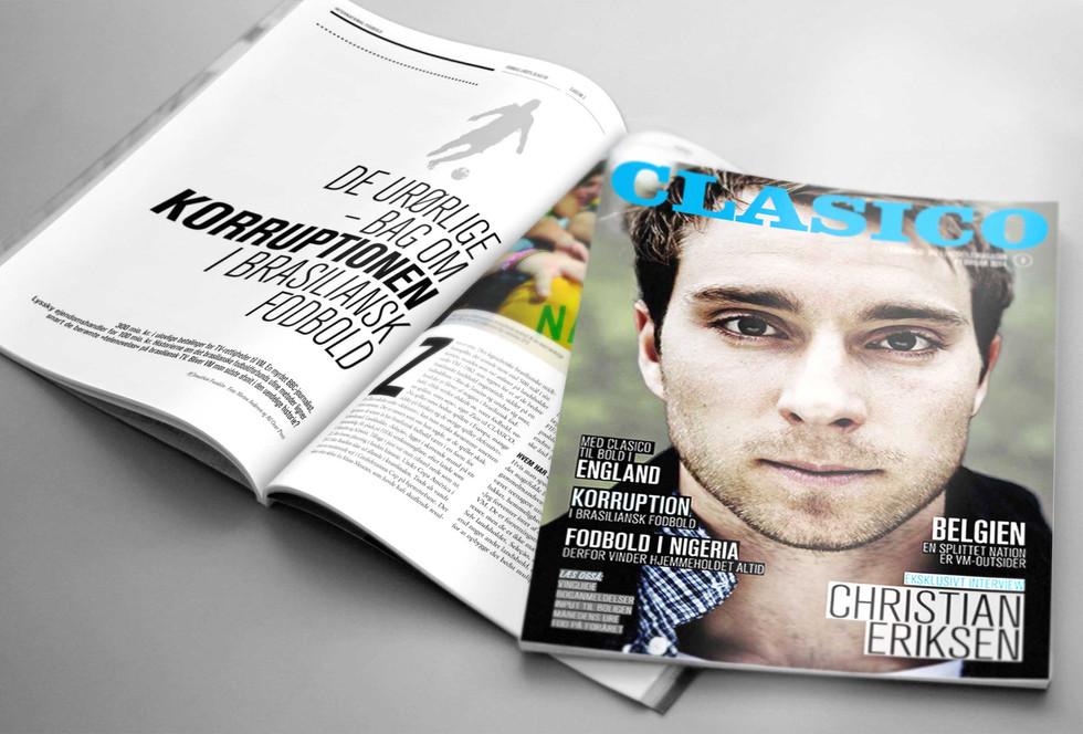 FODBOLDMAGASINET CLASICO. Designkoncept, grafisk design og layout af fodboldmagasinet Clasico.