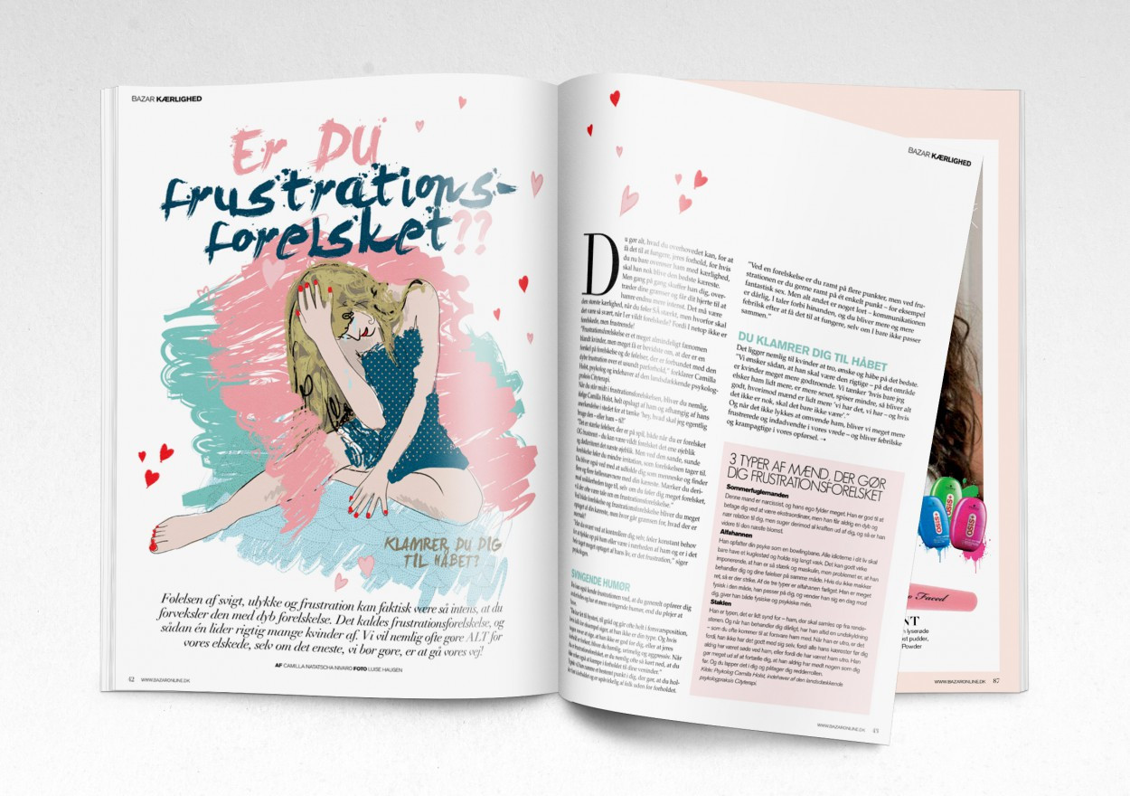 Illustration til artikel. Ungdomsmagasinet Bazar.