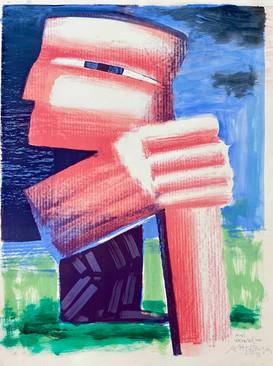 Farvelitografi med akvarel. 10.000 kr.
