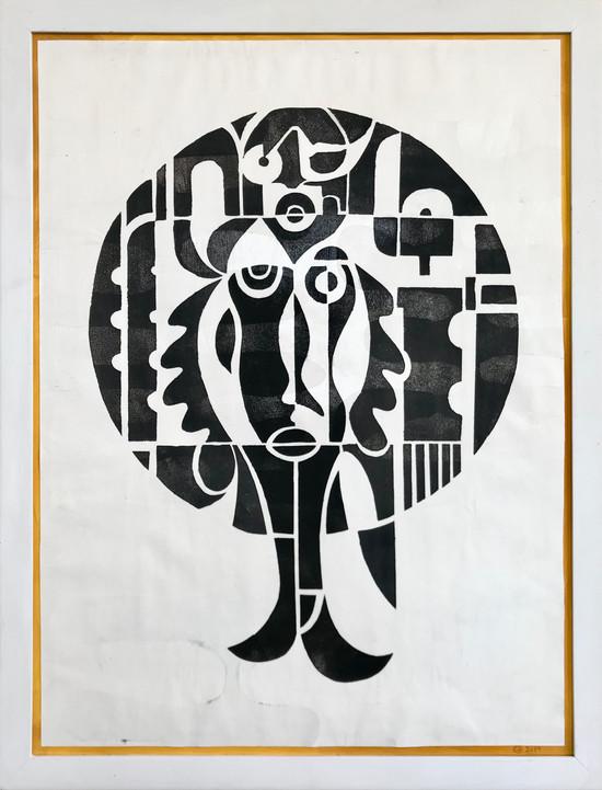 Havmand 2, sort på hvidt