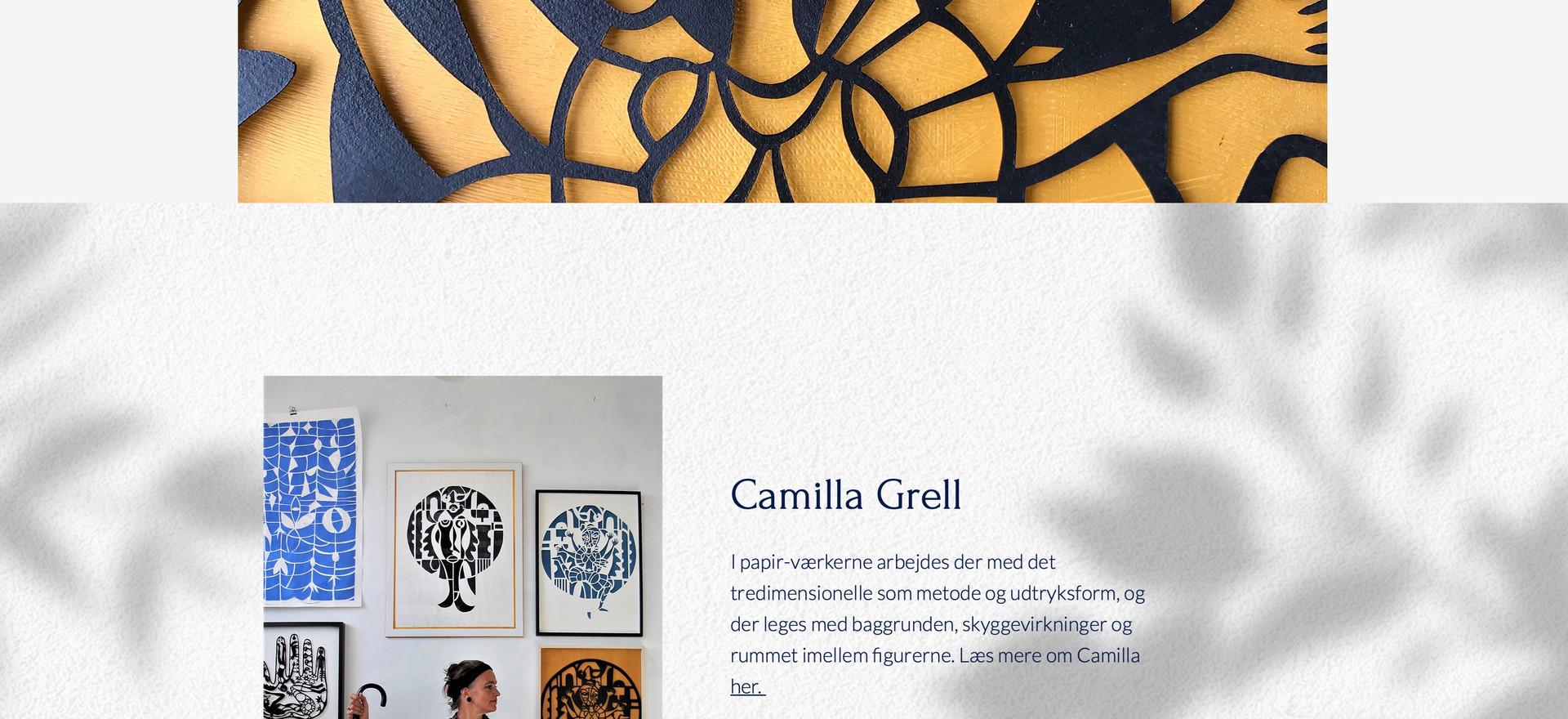Camilla Grell. Hjemmeside.