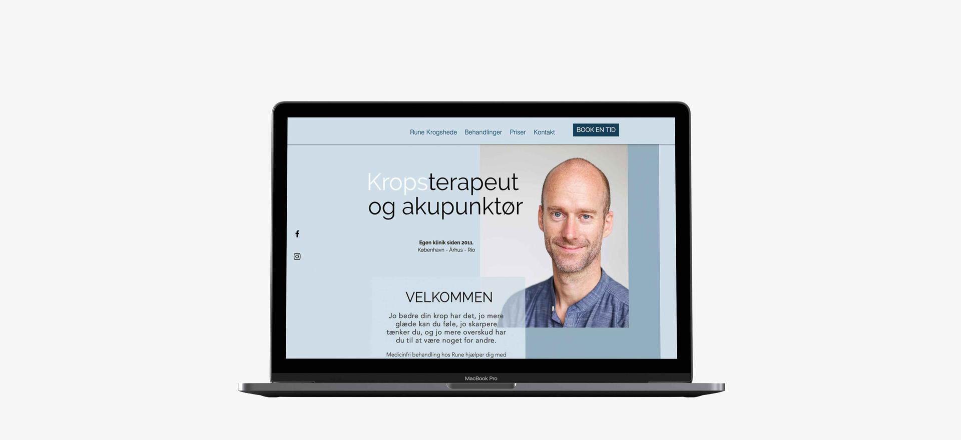 Rune Krogshede. Hjemmeside lavet i Wix. Billedet linker til hjemmesiden.