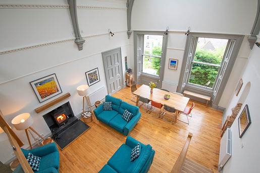 Oodles of space and a roaring fire: the luxurious living space at The Five Turrets