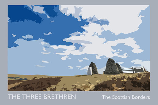 Poster art by Gethin Chamberlain featuring The Three Brethren, hanging in the gallery at The Five Turrets, Selkirk.