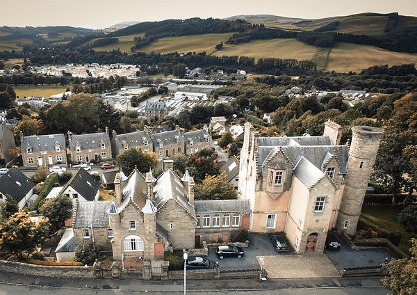 The Five Turrets, Selkirk, aerial view