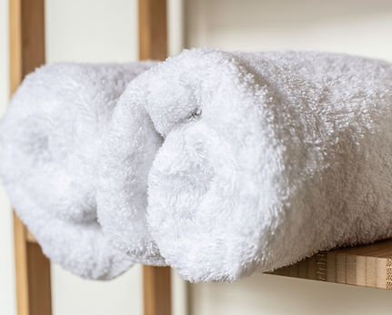 Fluffy towels in the luxurious Five Turrets bathrooms. Everyone loves a fluffy towel.