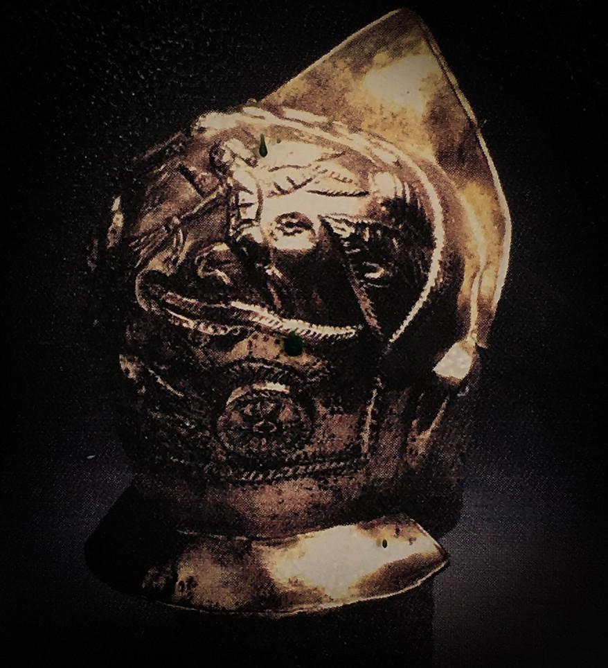 Brass cavalry helmet
