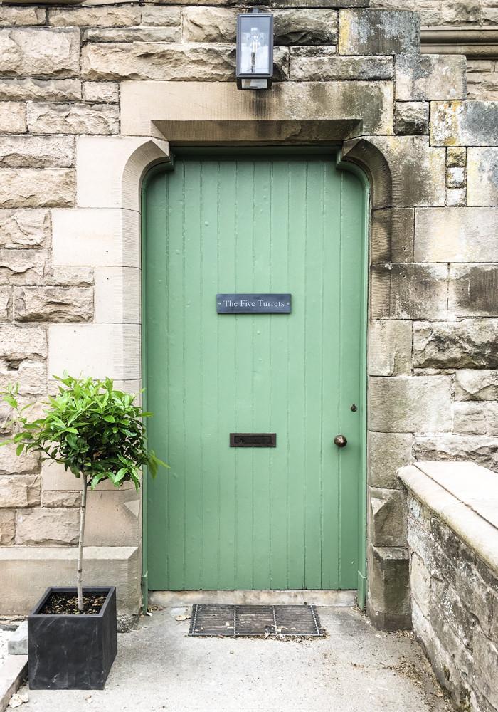 Front door of The Five Turrets