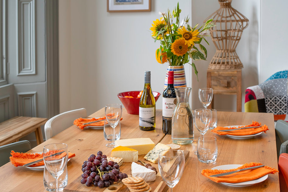 Dinner at The Five Turrets: cheese and wine on the dining table