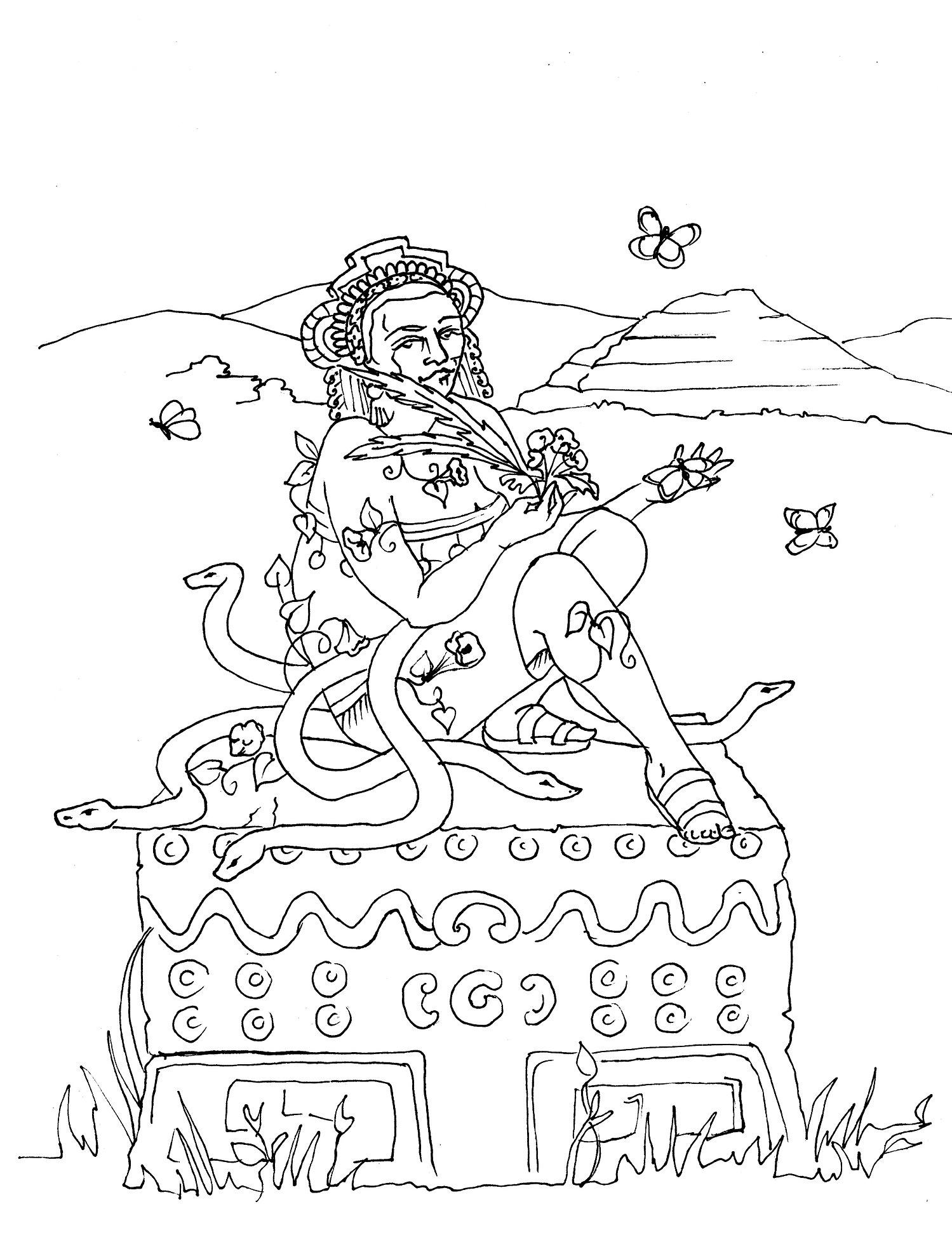 Xochi Quetzal Coloring Page