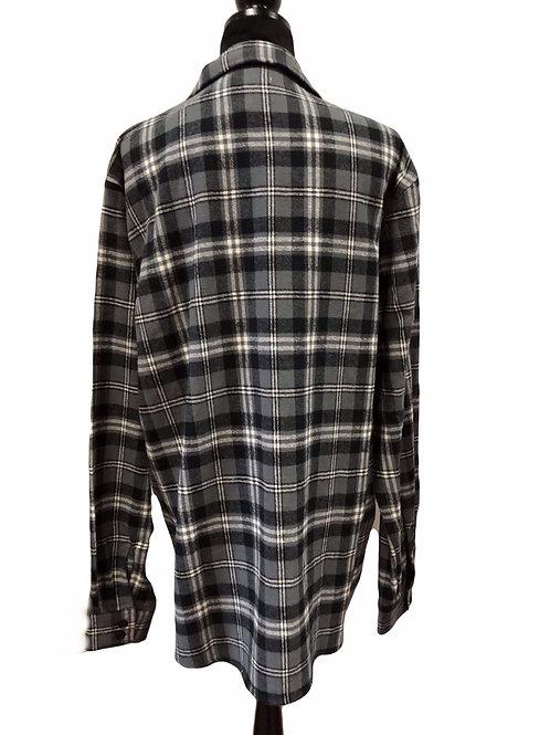 Mens Zip Up Grey & Black Flannel