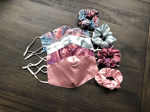Satin Face Mask With Matching Scrunchies