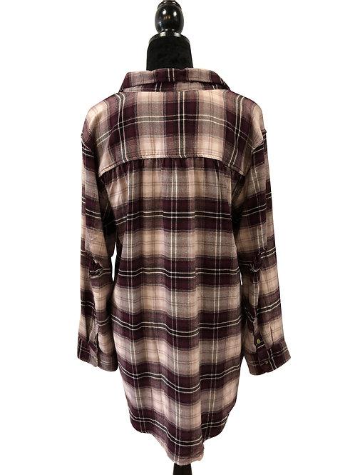 Ladies Boyfriend Fit Maroon Flannel