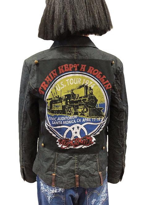 Ladies Crinkled Denim Utility Jacket
