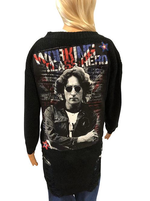 Distressed Black Sweater