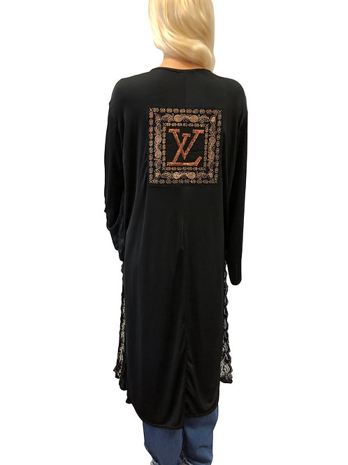 Black Kimono W/ Lace Trim