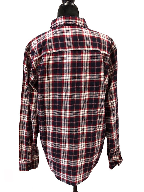 Mens Red Plaid Button Up Flannel