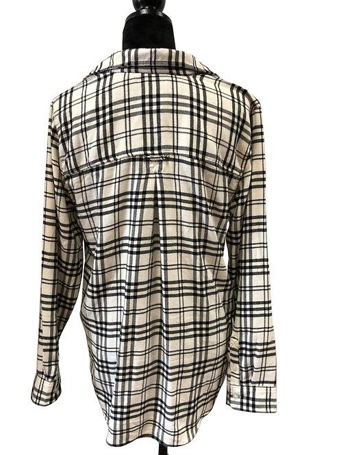Ladies Boyfriend Fit Black & White Flannel