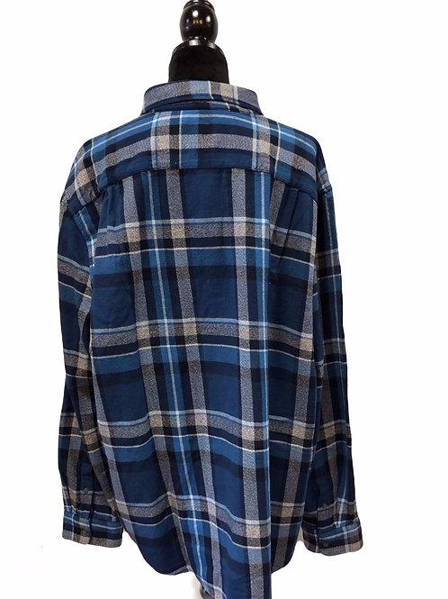 Mens Blue Plaid Button Up Shirt
