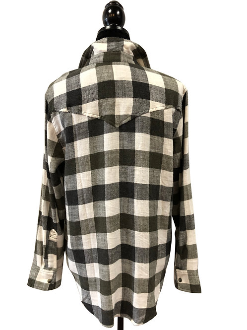 Ladies Oversized Dark Olive Snap Up Flannel