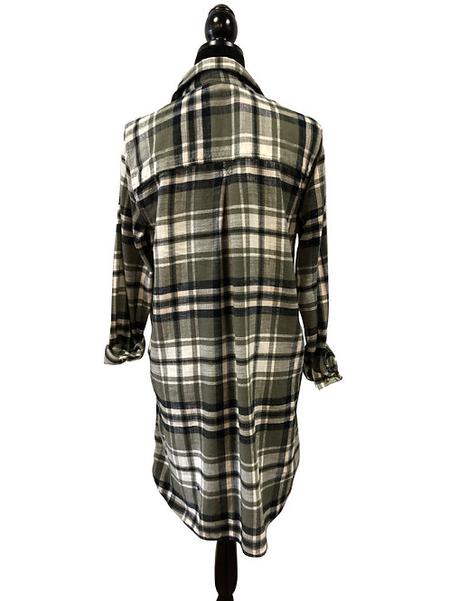 Ladies Oversized Olive & Black Flannel
