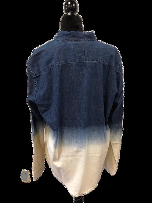 Mens Denim Ombre Button Up Shirt