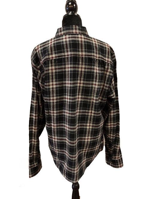 Mens Dk Grey Plaid Button Up Flannel