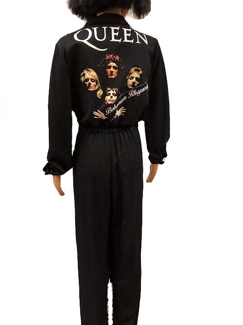 Ladies Black Button Up Jumpsuit